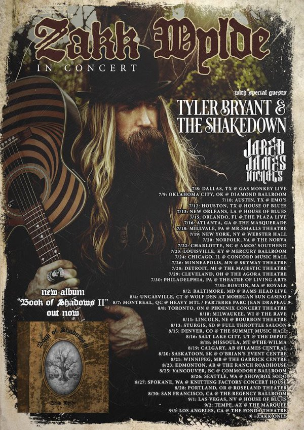 This summer.  @ZakkWyldeBLS live in concert bringing his #BookofShadows.  Tickets -> https://t.co/RTyrVnQT1g https://t.co/at4Iw8mNQE