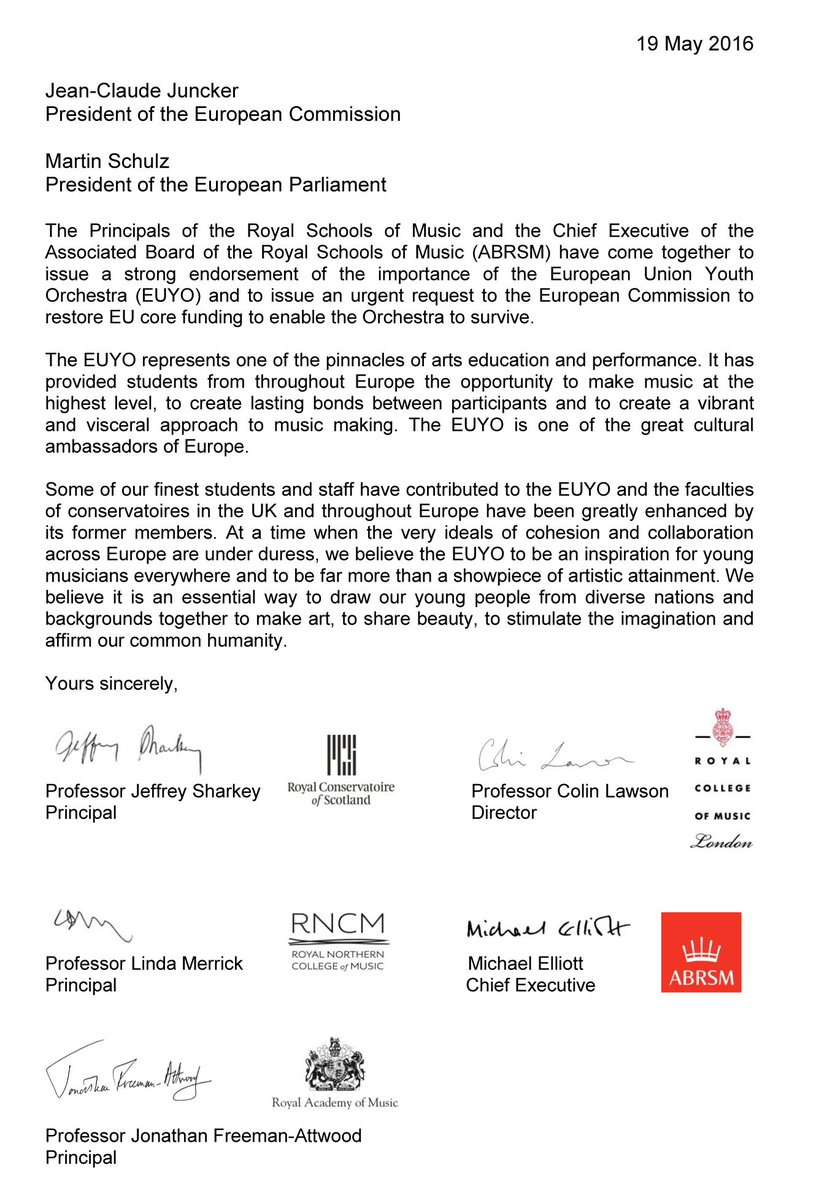 'An inspiration for young musicians everywhere' – a joint statement about @EUYOtweets #SaveEUYO https://t.co/VD9TFa77ar