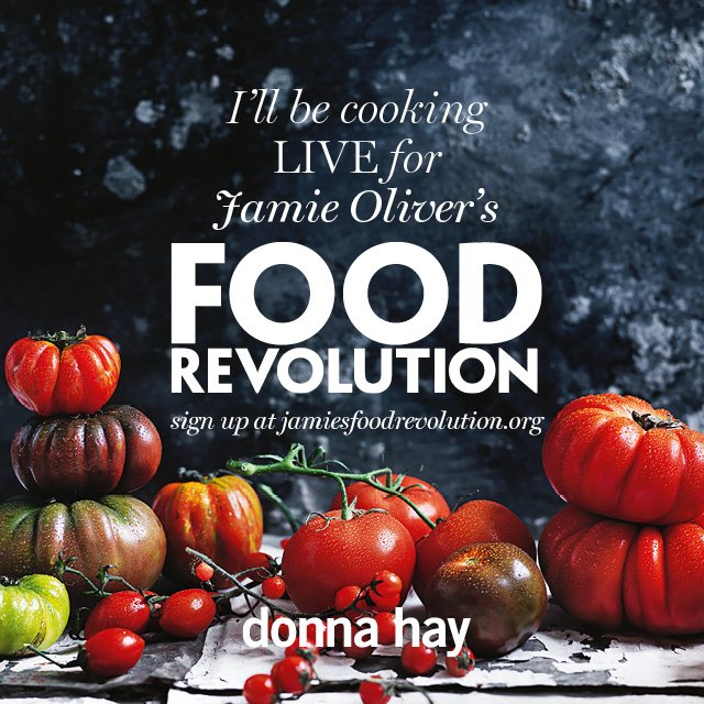 RT @DonnaHay: I'm cooking live on FB tomorrow 7.30pmAEST for @jamieoliver's #FoodRevolution –sign up here: https://t.co/mbLsBrLeP9 https://…