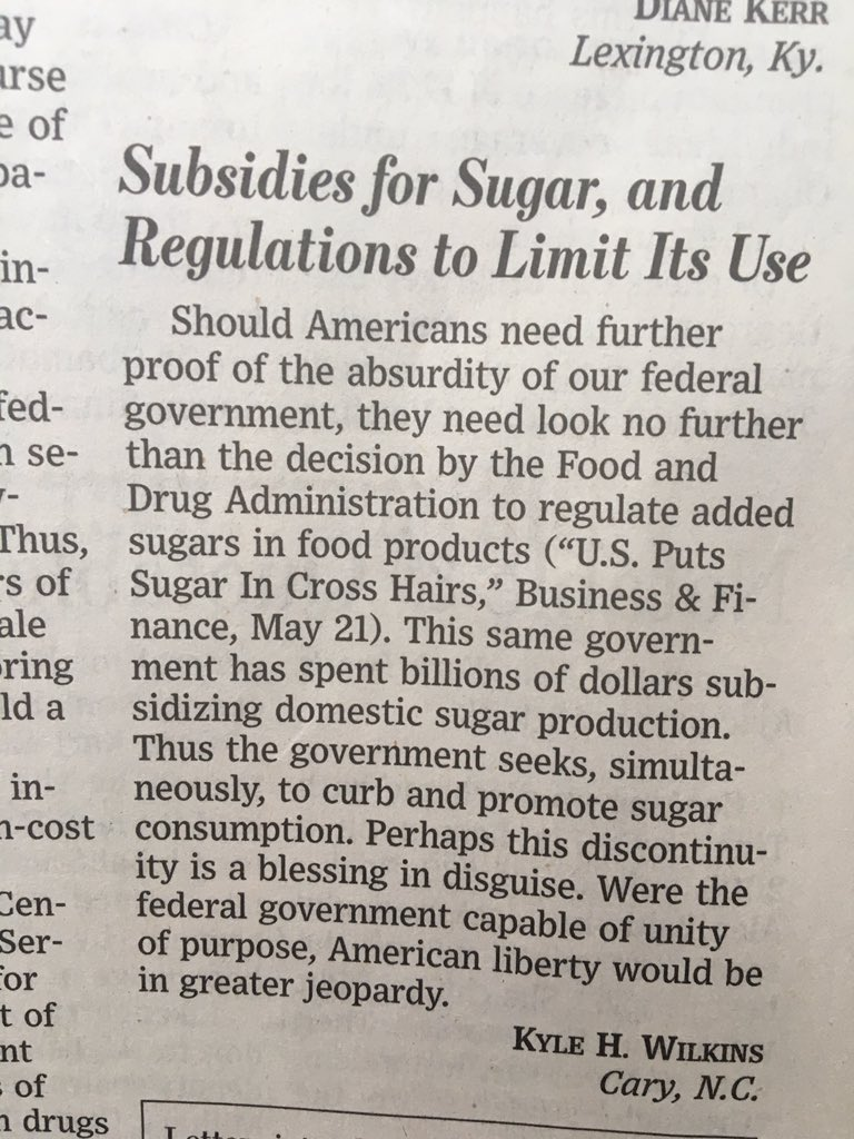 Quite the kicker here in this @WSJ letter to the editor #sugar https://t.co/h643548YK7