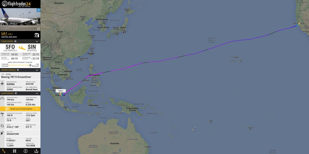 RT @flightradar24: 16 hours after departing @flySFO, UA1—world's longest 787 flight—now at @ChangiAirport. https:/…