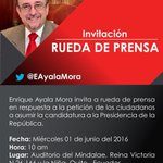 RESPUESTA de @EAyalaMora Luego de pedido ciudadano para que sea candidato y Tendencia nacional #AyalaPresidente https://t.co/J4qJ87p0fT