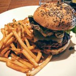 """Must see photo! Its called the """"karsten"""" burger and its exclusively at #nordstromvan #vancouver #yvr by alnoorda https://t.co/uGEle11ysE"""