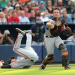 Heres a fun photo: Peavy, um, getting out of the way so Buster can field Smiths bunt. #SFGiants https://t.co/eqiDHLSWAF