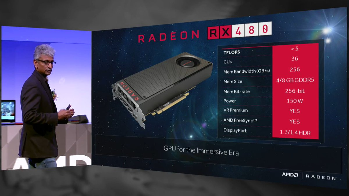 The Radeon RX 480. Gaming and premium VR starting at $199. Coming June 29th. #Computex2016 https://t.co/4uBvbEGQfY