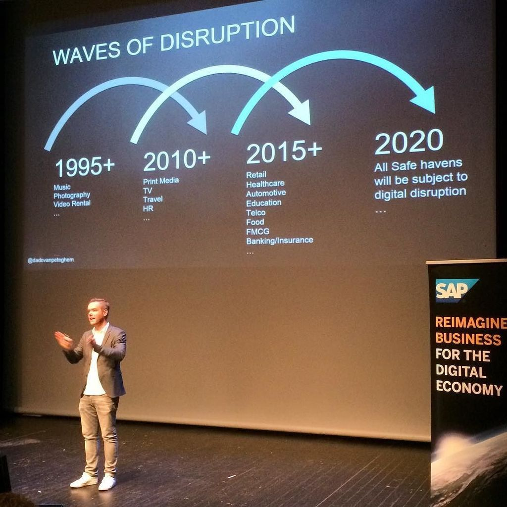 No industry will escape #DigitalTransformation! What will next #disruption be? @dadovanpeteghem at #SAPForum #Lux https://t.co/HDOHENsSXy