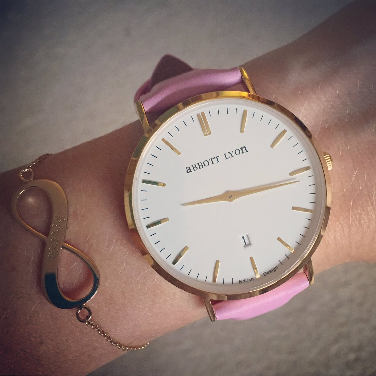 This morning's special delivery - my new @AbbottLyon watch. In pastel pink, obvs