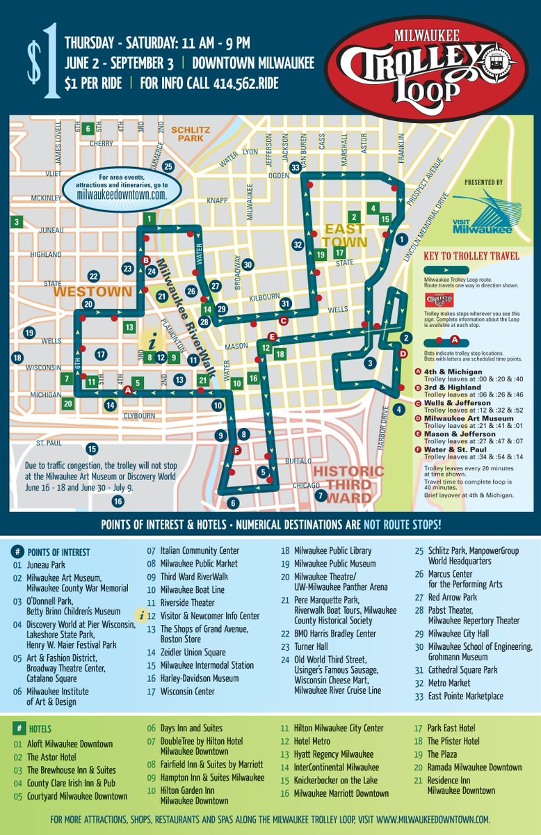 The Milwaukee Trolley Loop rolls out tomorrow, 6/2! The trolley will run Thursdays-Saturdays, 11am-9pm through 9/3. https://t.co/MfuLJ4Sr69