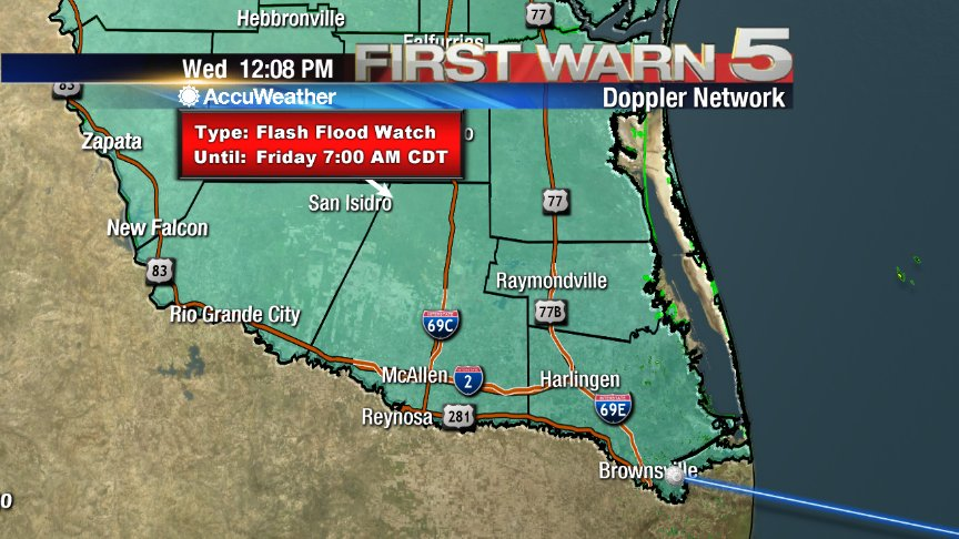 (12:09PM) Flash Flood Watch continues for the entire Valley until 7AM Friday. https://t.co/yz5dygbGtu