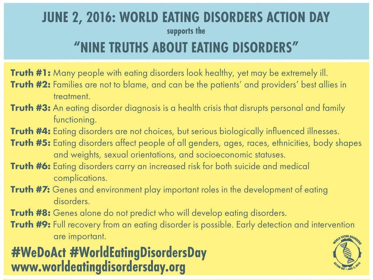 Truth #6: Eating disorders carry increased risk for suicide & medical complications https://t.co/0OsiG6bthG #WeDoAct https://t.co/hZa1efB5rZ