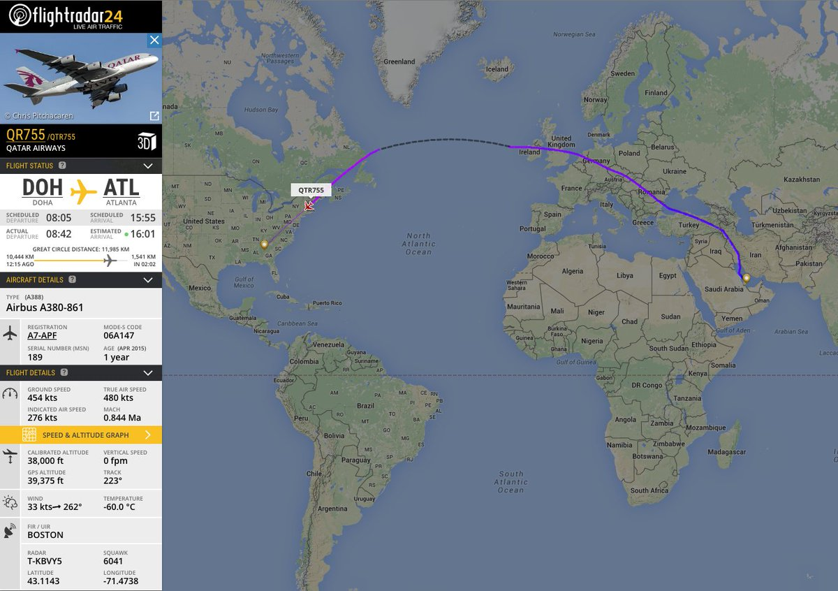 RT @flightradar24: The @qatarairways Doha—@ATLairport inaugural making its way down the US east coast. https://t.co…