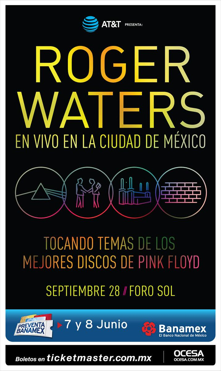 #OcesaPresenta @rogerwaters  Septiembre 28, Foro Sol, Preventa @banamex Junio 7 y 8 @Ticketmaster_Me #RogerWatersMx https://t.co/Uxpn1X7Raf