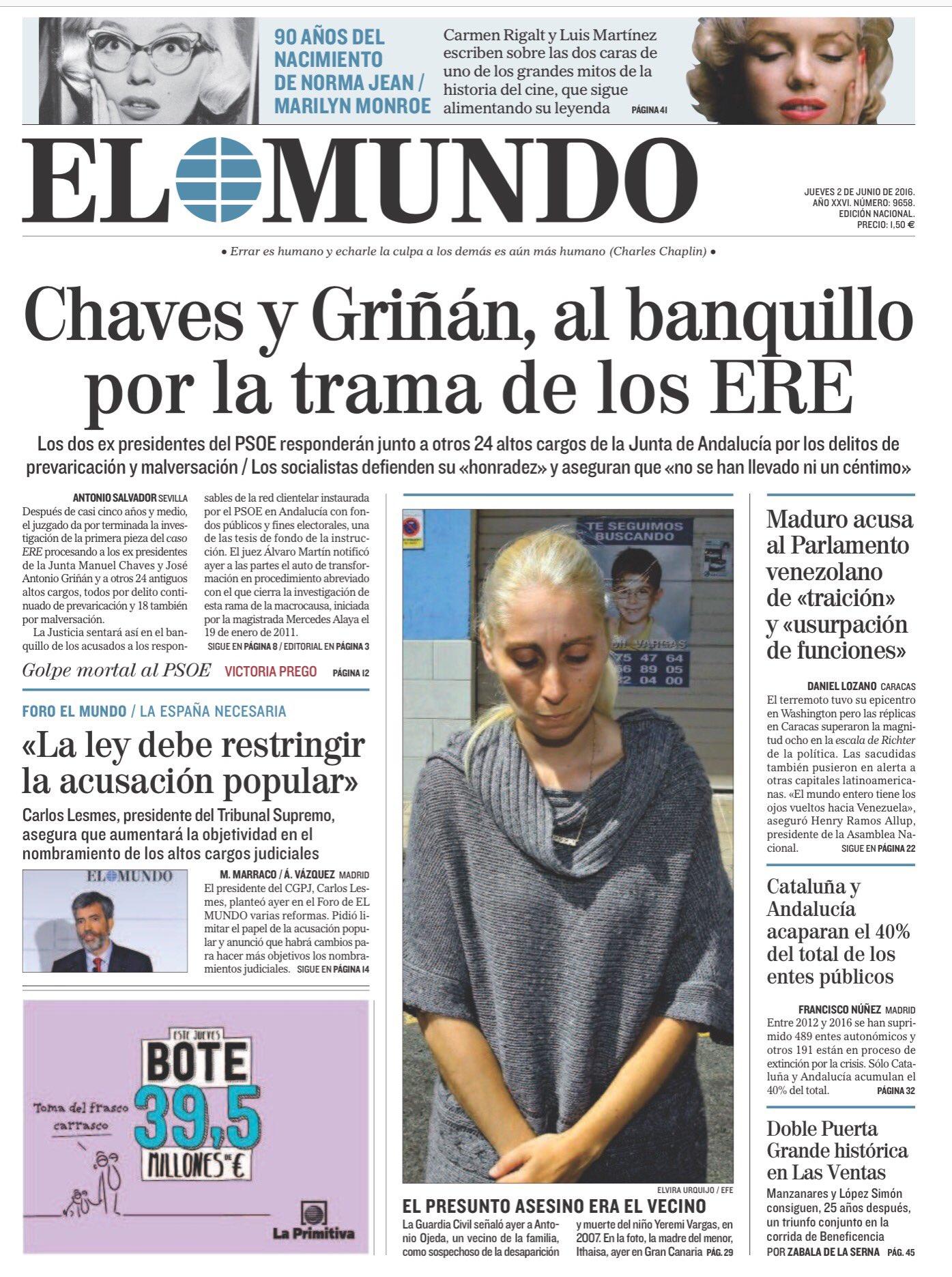 #LaPortada del jueves 2 de junio https://t.co/jEoNTrw1yK