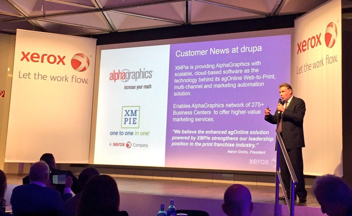 .@AlphaGraphics @Xerox @XMPie partnering for software solutions. #drupa2016 https://t.co/yGr0VI3vDX