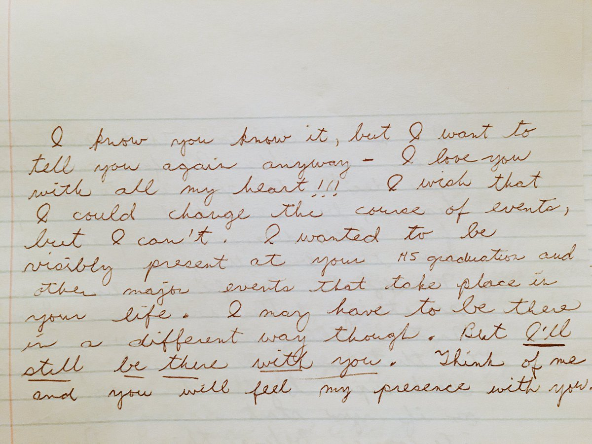 My mom wrote me a few notes before she passed. I found them & this is just one. I miss you mom. Love you forever. ❤️ https://t.co/EUZR1erU8I