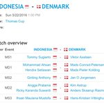 LINE UP FINAL #ThomasCup Indonesia vs Denmark! Wooooow kekuatan penuh!!! 12:00 WIB LIVE di Fox Sports dan KompasTV https://t.co/a73bn8zhSg