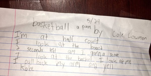 Icymi A Sixth Grader Wrote A Poem About Basketball And Kobe Bryant Then