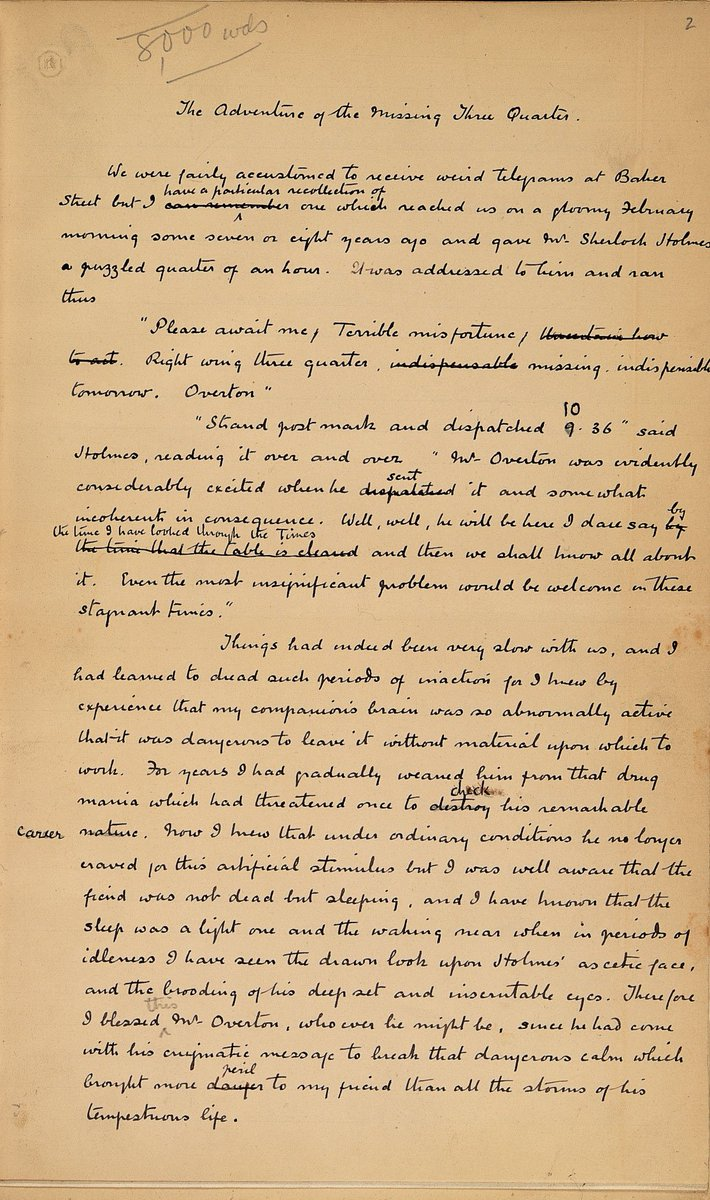 Happy birthday Arthur Conan Doyle, born #otd 1859. His manuscript for #SherlockHolmesDay https://t.co/yBsEM9rsAb https://t.co/GoZPVZliQ9