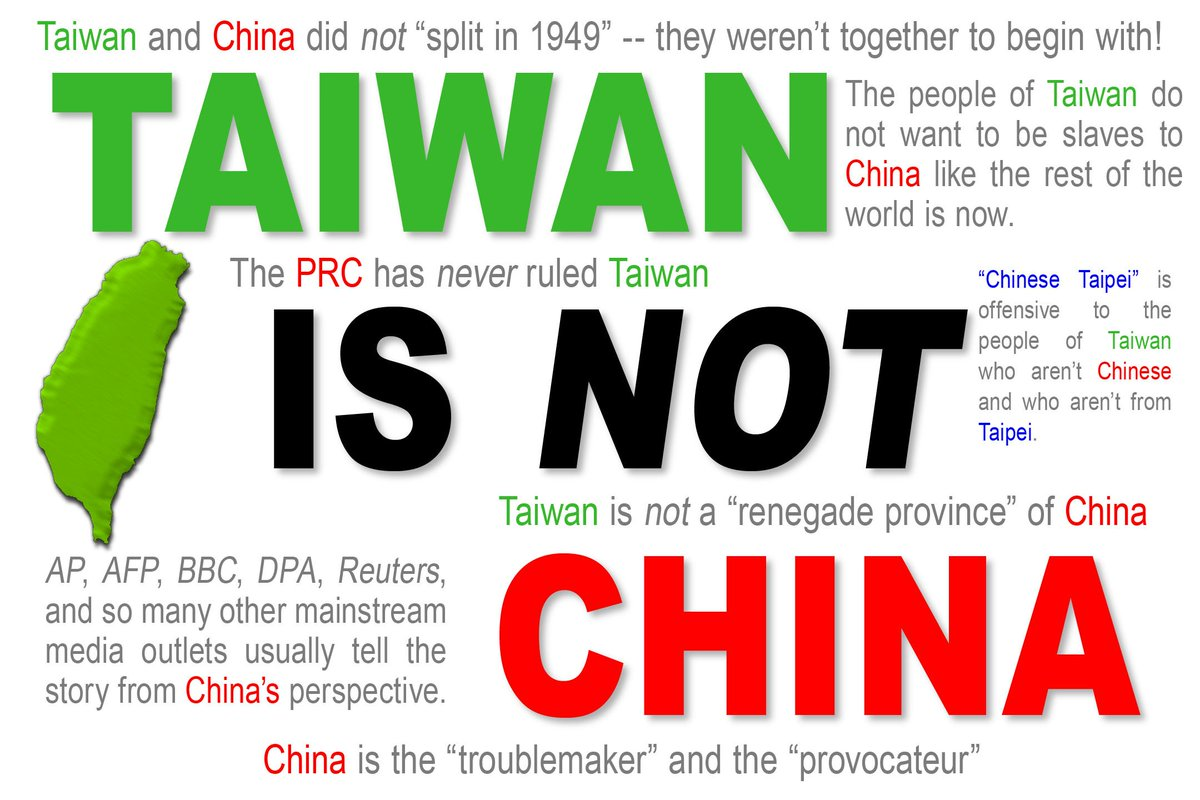 If you know the truth, you must speak up •now•: Taiwan has •never• been part of the PRC. #independence #vs #hegemony https://t.co/hm9WNRNbOg