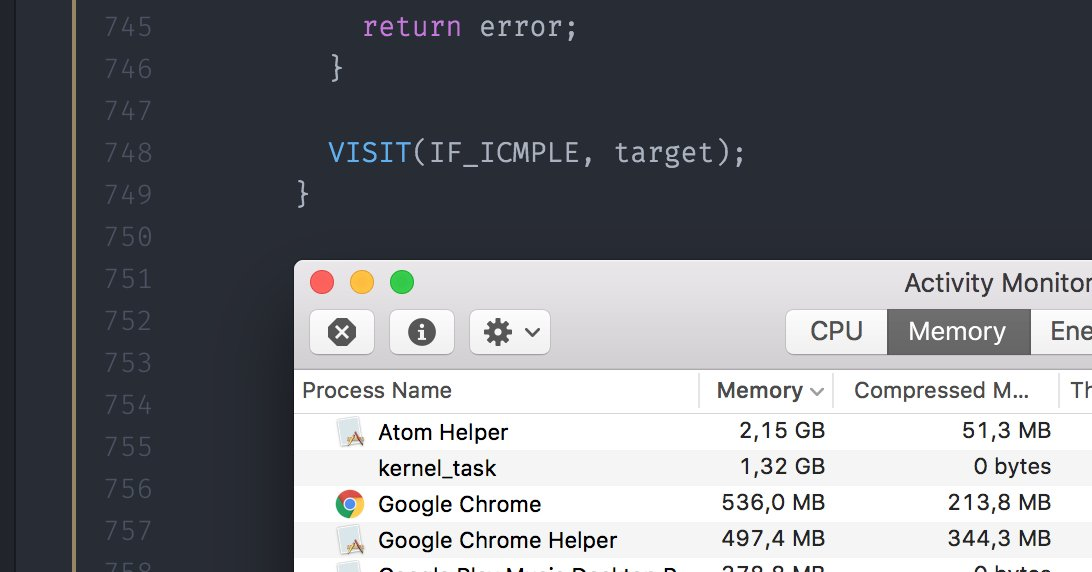 We're living in the future! Our computers have so much RAM that even a simple text editor uses 2GB (w/ 4 tabs open) https://t.co/Ipti3jOz3B
