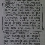 Hyderabad do not have windspeed measuring equipment @TelanganaCMO @GHMCOnline @hydcitypolice @TimesNow @wef @V6News https://t.co/mfQ8pPclYy