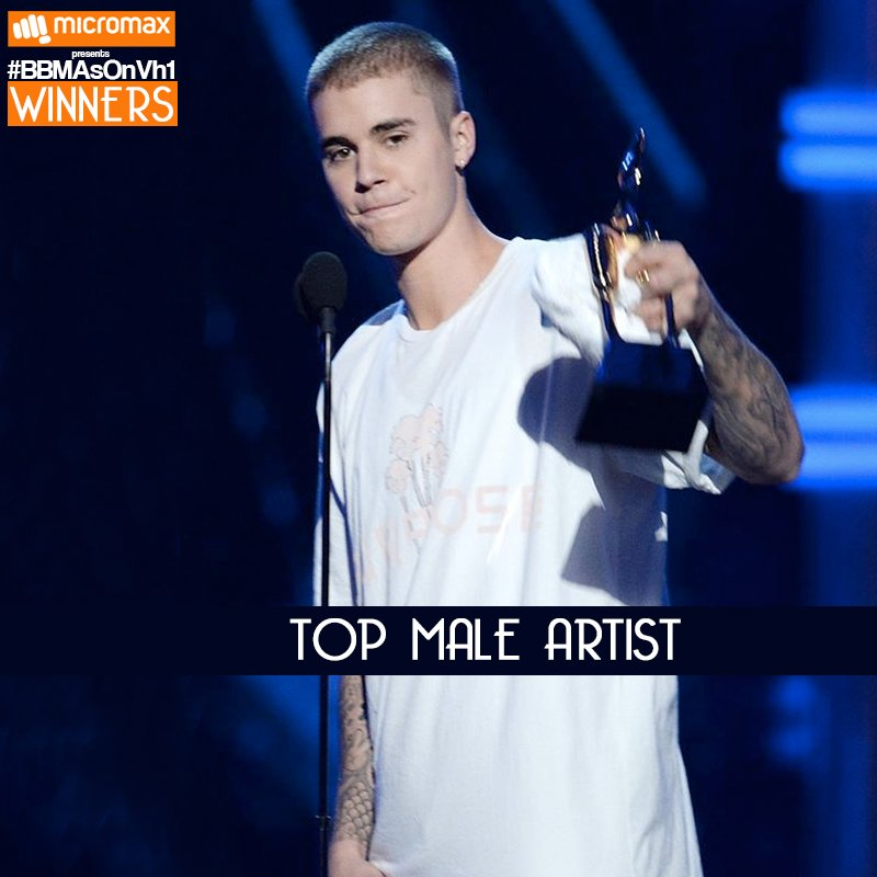 Justin Bieber snags Top Male Artist! #BBMAsOnVh1 #BBMAs https://t.co/Tv1J94CYxY