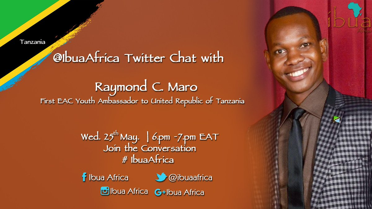 This Wednesday 6pm on #IbuaAfrica we host 1st EAC Youth ambassador to Tanzania, @RaymondCMaro . Be sure to join! https://t.co/cZa9TePpuJ