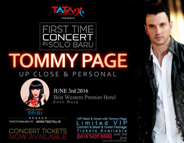 Tommy Page - Up Close & Personal | 3 Juni at Best Western Hotel, Solo Baru |  Ticketbox: https://t.co/IQBzWXo3qF https://t.co/OdxXOUFxfJ