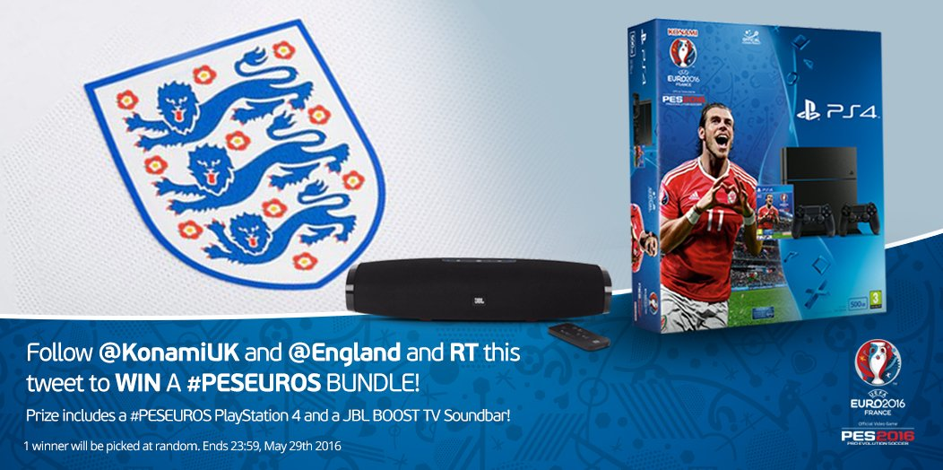 Want to WIN this incredible #PESEUROS bundle? RT + FOLLOW @KonamiUK & @England to enter the competition. https://t.co/WSQoJ8frV1