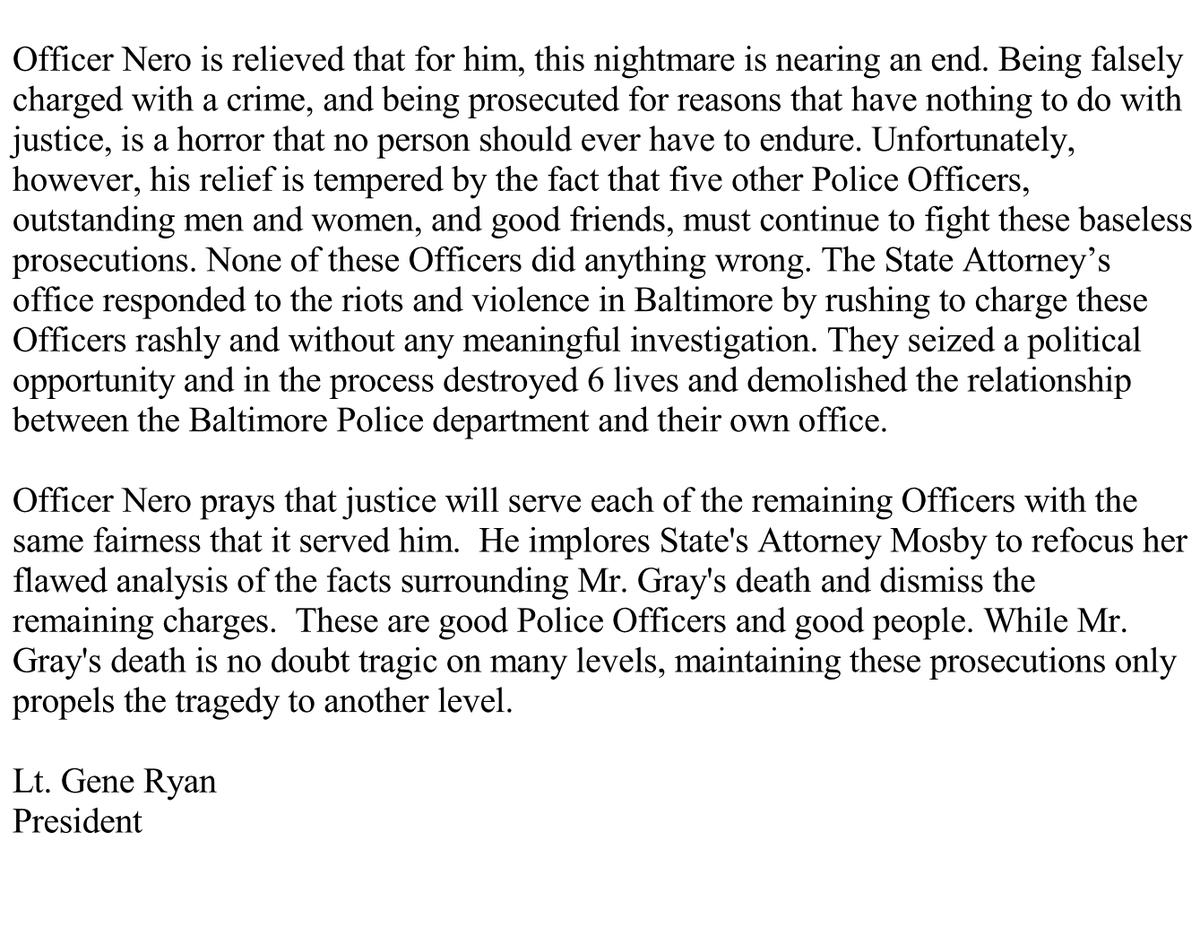 Statement regarding acquittal of BPD Officer Edward Nero https://t.co/JK4RGXavKE