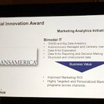 Congrats to @Transamerica for winning the Special #innovation award! #BigData #INFA16 https://t.co/L6guGU1IIx