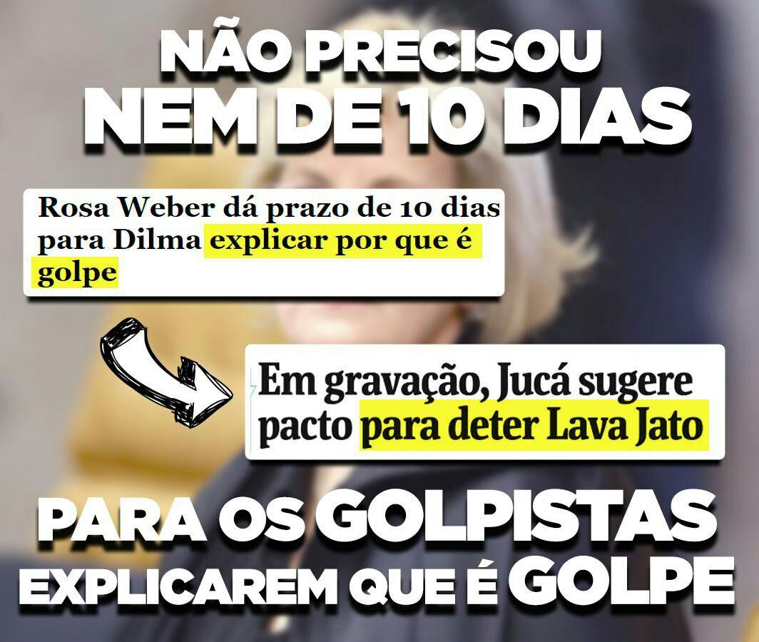 Não precisou de 10 dias para Jucá e os golpistas explicarem o porque é GOLPE! Teve até plantão da Globo... https://t.co/I6koz4PbZg