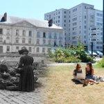 En 1900 le marché, en 2016 deux étudiantes sur lherbe. Un photomontage astucieux signé @DubrayFranck. #Nantes https://t.co/IW4rSuZtlT