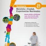 Este miércoles los invitamos al Seminario Bicicleta y Ciudad, Experiencias Nacionales, a las 8:30 en la DAE, UACh https://t.co/N7SooBTI00