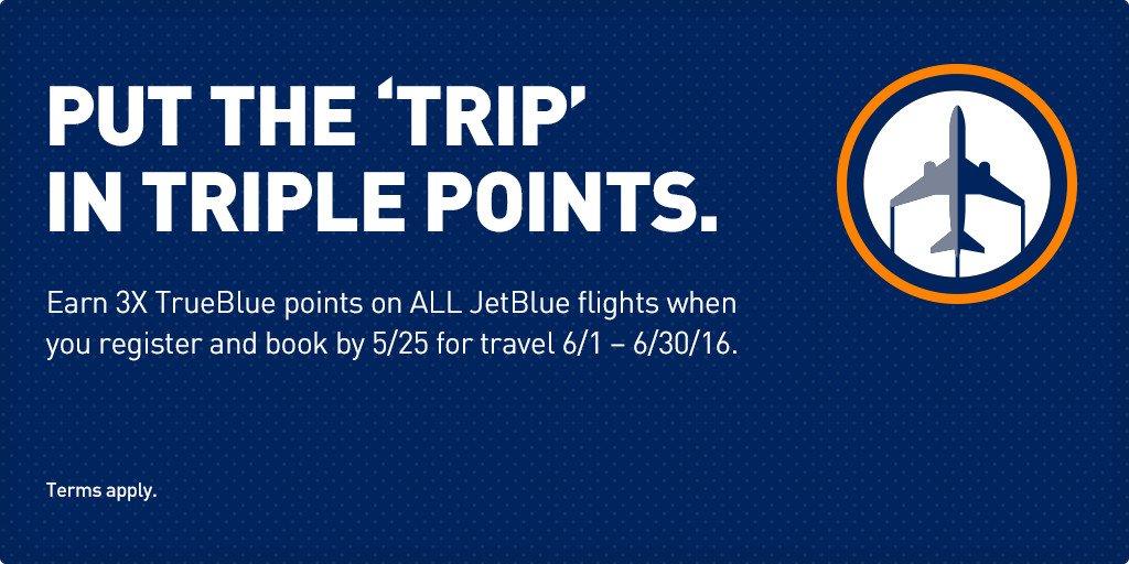 Earn triple points on ALL JetBlue flights in June! Terms apply.