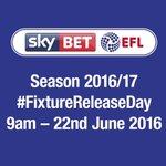 #FixtureReleaseDay  ⚽️ Season 2016/17 📆 Wednesday 22 June 2016 🕘 9am https://t.co/29tuS5DM5T