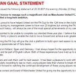 """A """"very disappointed"""" Louis van Gaal has issued the following statement.  https://t.co/LRxqwOGlAx #MUFC #ManUtd https://t.co/boIFOeX5Ex"""