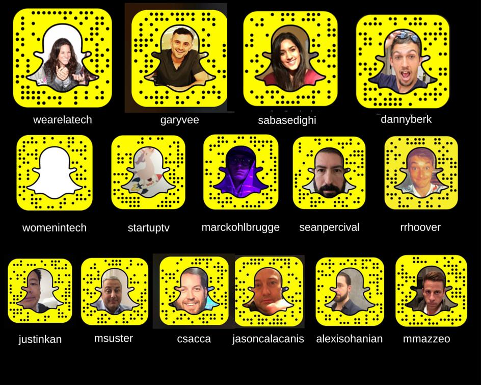 Snapcodes of Tech founders investors startups on #snapchat like @garyvee @Mazzeo @rrhoover @SabaSedighi U welcome :) https://t.co/JvcDRknVlA