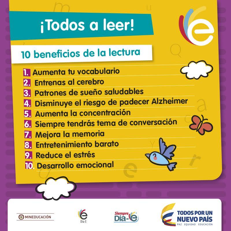 En el colegio, en la oficina, en la U, en el bus ¡Todos a leer! 10 beneficios de la lectura. #SemanaE https://t.co/hkH2fJnZ8U