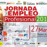 Mañana presentaremos #JornadaEmpleoProfesional p jóvenes en Torreón buscando trabajo a profesionistas @sejuve_laguna https://t.co/Iy8y3InRj9