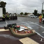 Spilt milk! Corner leach highway and manning road, traffic slow. Truck lost its load @9NewsPerth live at 830 https://t.co/yOIIgiEA7f