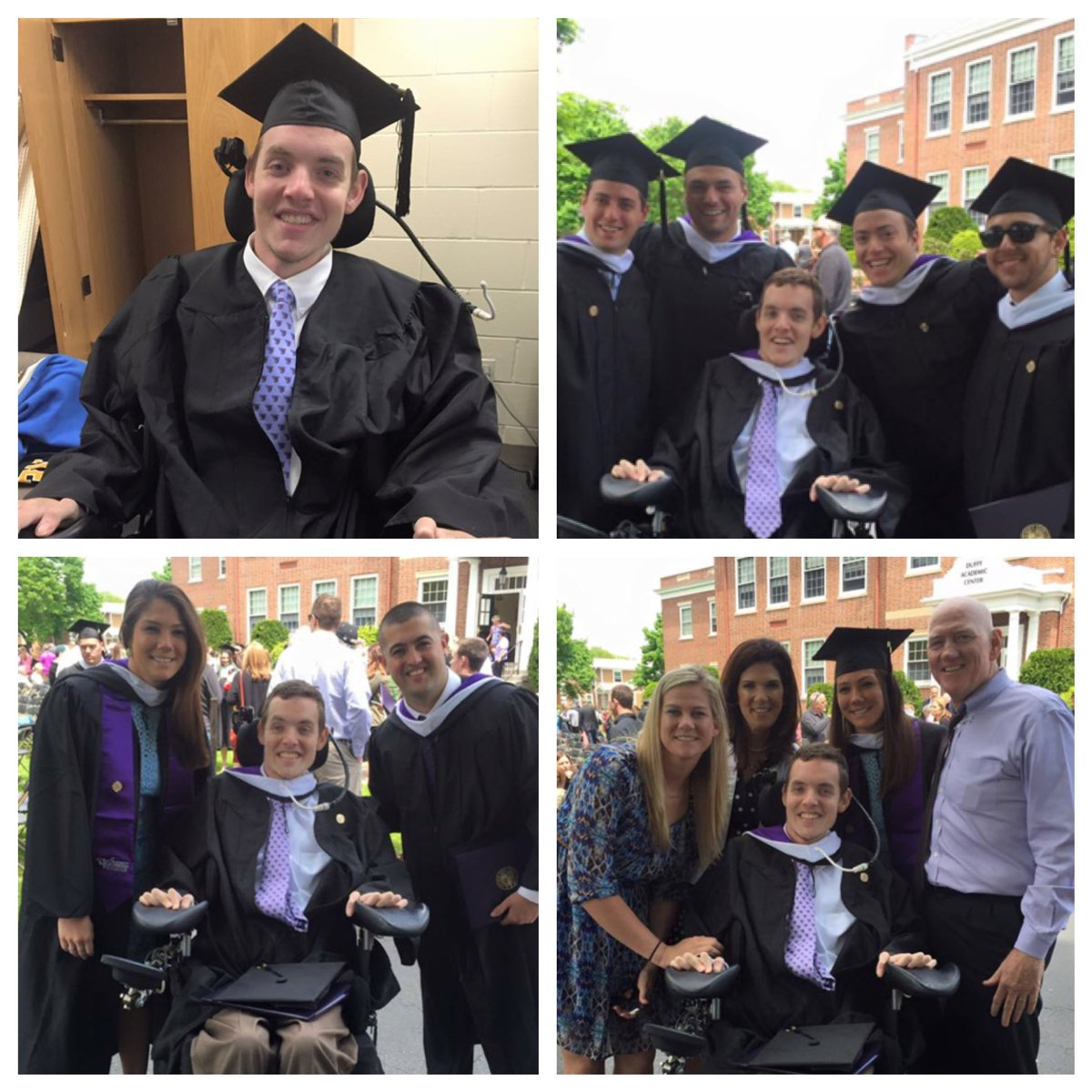 Congrats to Norwood's Matt Brown, who after being paralyzed playing hockey 6 years ago, graduated from Stonehill! https://t.co/hO075TgIEs