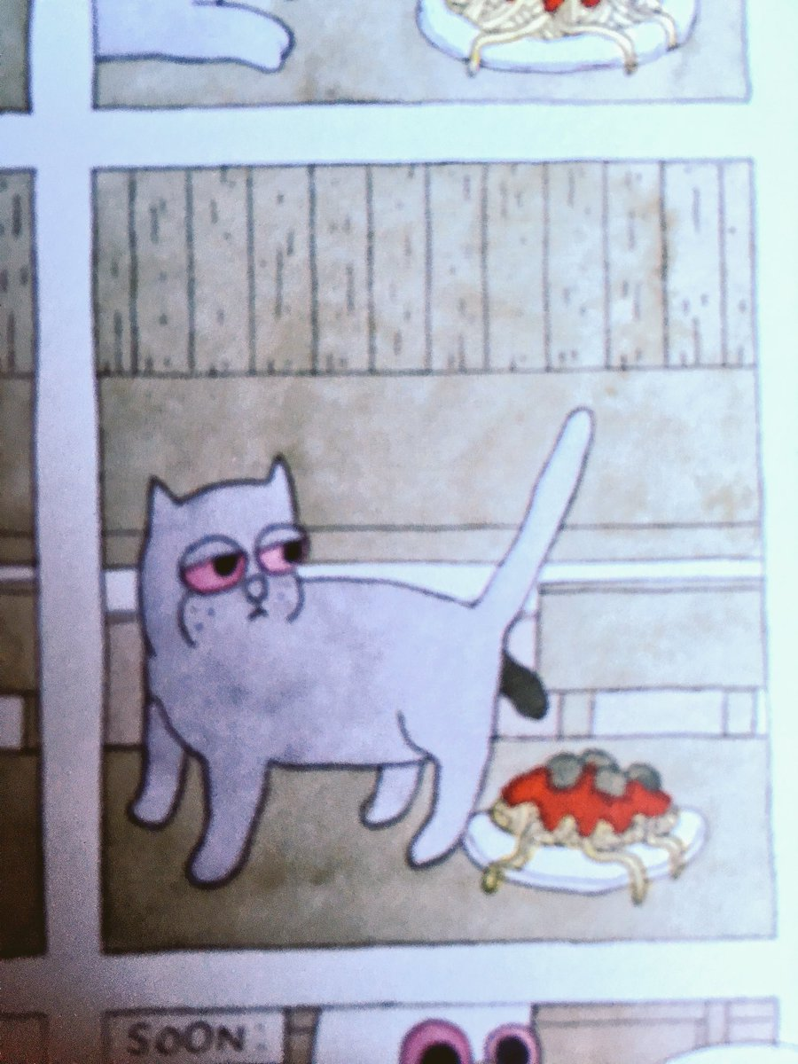 I'm laughing so hard in the middle of a restaurant at this comic Megahex because there's a cat crapping