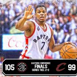 Raptors tie the series! Kyle Lowry drops 35 Pts as Toronto wins both games at home to go back to Cleveland tied 2-2. https://t.co/PcAAat9R37