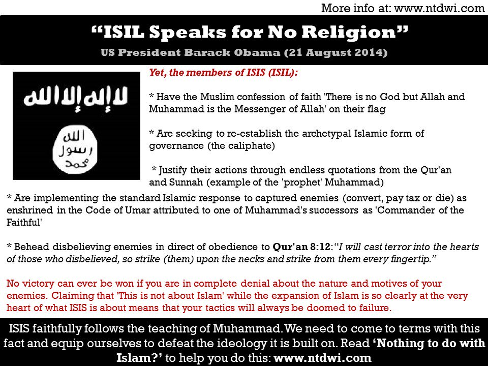 ISIS Speaks for no Religion. Really? #tcot #pjnet #isis #tlot https://t.co/wdTJHUQnQT  https://t.co/KAiKkOOXld