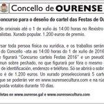 Concurso para elixir a imaxe das Festas de Ourense 2016  https://t.co/pKrJoc0IEV  @capitaltermal @OurenseConcello https://t.co/ILMW7Yo1KH