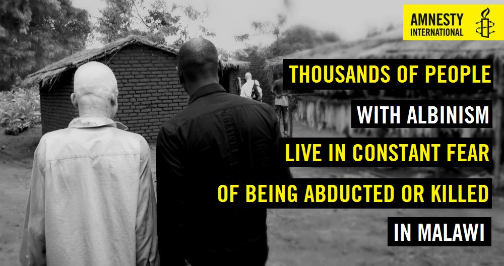RT @amnesty: #Malawi: Heinous attacks & murders of people with #albinism must end! Please act @headtalker https://t.co/RfW2SdqAzA https://t…