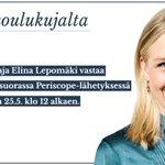 Kansakoulukujalta-juttusarja jatkuu huomenna, haastateltavana @elinalepomaki. Kysymykset hashtagilla #kujalta. https://t.co/DZHtvmy2XH