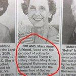 Melhor obituário de todos os tempos - diante da opção de votar para Trump ou Hillary, ela optou por morrer https://t.co/8qBQxoffKB
