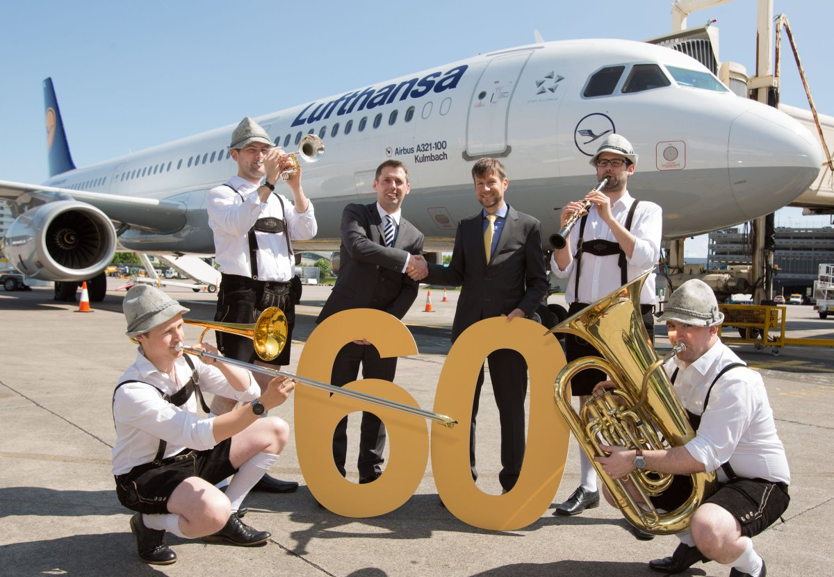 Congratulations to Lufthansa, celebrating 60 years of flights from Manchester Airport irport